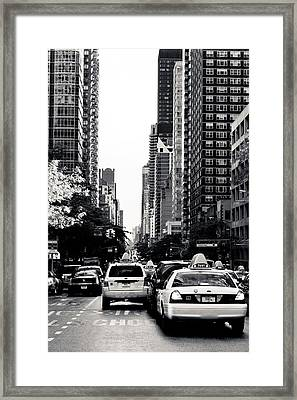 Nyc Traffic In Black And White Framed Print by Anthony Doudt
