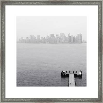 Nyc View From Liberty Island Framed Print by Nina Papiorek
