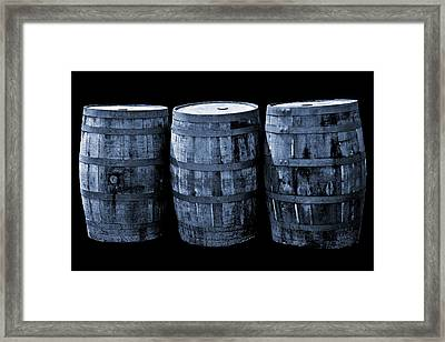 Oak Barrel Cynotype Blue Framed Print
