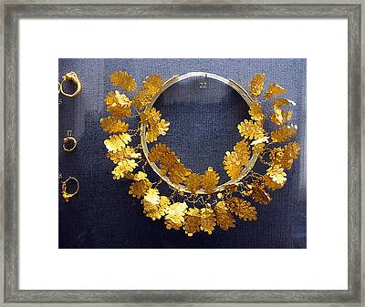 Oak Leaves Wreath Framed Print by Andonis Katanos