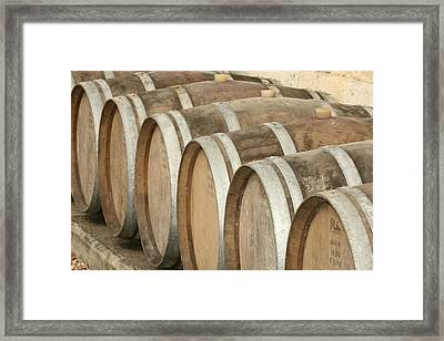 Oak Wine Barrels In Castillion La Bataille, France Framed Print by Steven Morris Photography