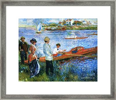 Oarsmen At Chatoli Framed Print by Pg Reproductions