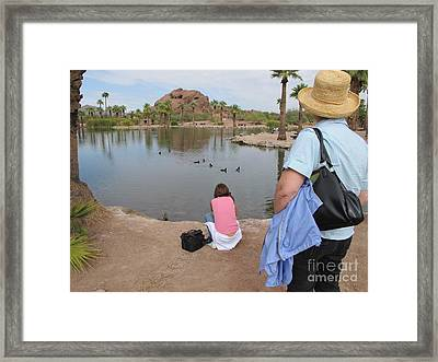 Framed Print featuring the digital art Oasis by Leslie Hunziker