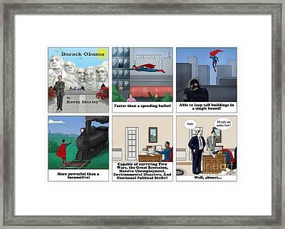 Obama As Superman Framed Print