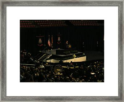 Obama At Mchale Center Framed Print by Jayne Kerr