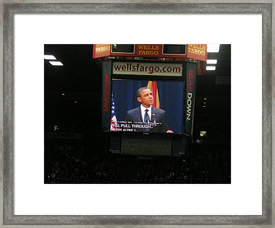 Obama At Mchale In Tucson Framed Print by Jayne Kerr