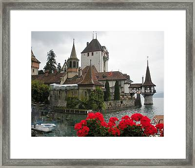 Oberhofen Castle Switzerland Framed Print by Marilyn Dunlap