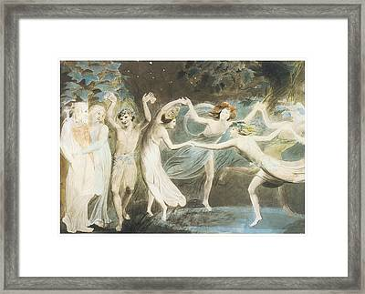 Oberon Titania And Puck With Fairies Dancing Framed Print by William Blake