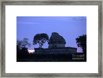 Framed Print featuring the photograph Obervatory At Sunset Chichen Itza Mexico by John  Mitchell
