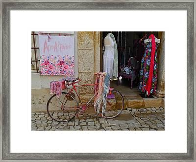 Obidos Portugal Street Scene Framed Print by Kirsten Giving