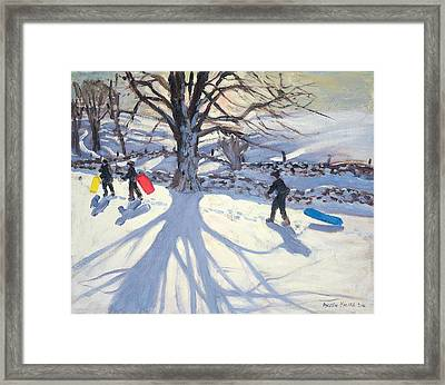 obogganers near Youlegrave Framed Print by Andrew Macara