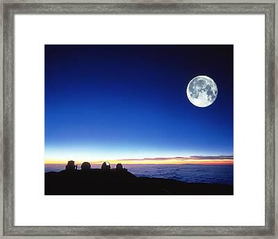 Observatories At Mauna Kea, Hawaii Framed Print by David Nunuk
