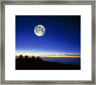 Observatories At Mauna Kea, Hawaii, With Full Moon Framed Print by David Nunuk