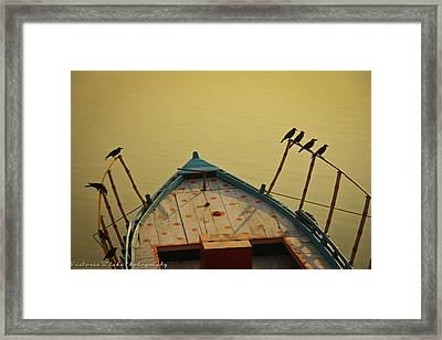 Occupied Boat On Ganges Framed Print by Www.victoriawlaka.com