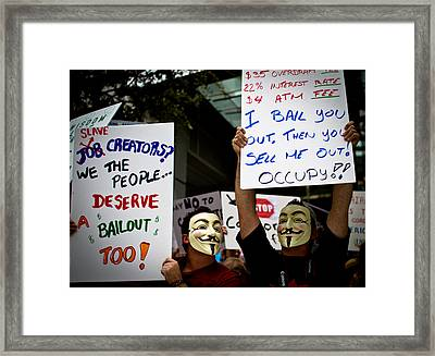 Occupiers And Their Signs Framed Print