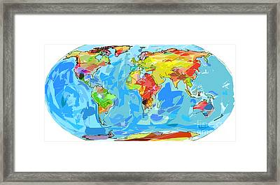 Ocean Currents World Map Framed Print by David Lloyd Glover