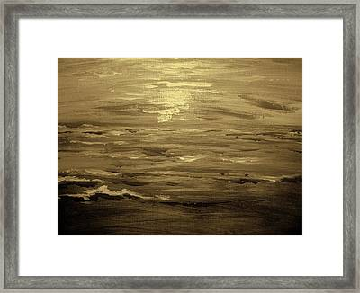 Ocean Sunset Blk Wht Framed Print by Amanda Dinan