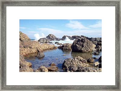 Ocean Tide On The Rocks Framed Print