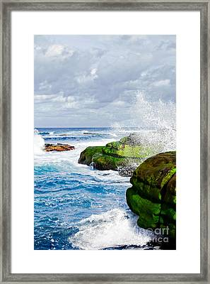 Ocean Wave Breaks On La Jolla California's Pacific Coast Framed Print by Susan McKenzie