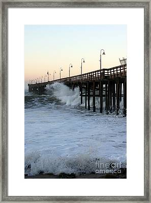 Ocean Wave Storm Pier Framed Print
