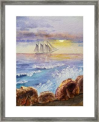 Ocean Waves And Sailing Ship Framed Print by Irina Sztukowski