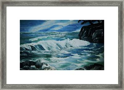 Framed Print featuring the painting Ocean Waves by Christy Saunders Church