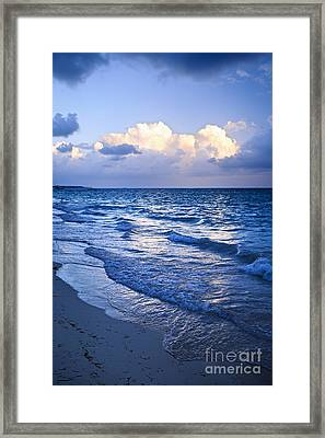 Ocean Waves On Beach At Dusk Framed Print by Elena Elisseeva