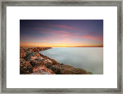 Oceanside Harbor Jetty Sunset Framed Print by Larry Marshall