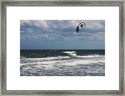 October Beach Kite Surfer Framed Print by Susanne Van Hulst