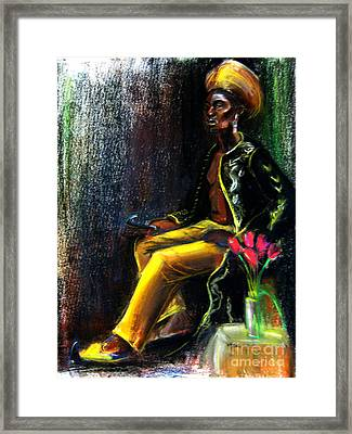 Framed Print featuring the drawing Odelisque by Gabrielle Wilson-Sealy