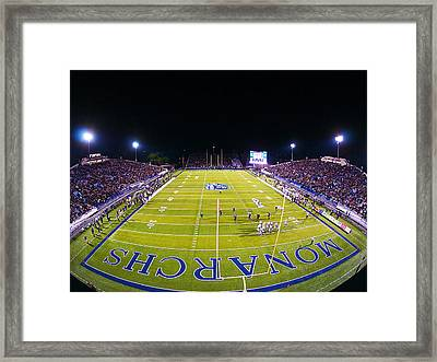 Odu Football At Foreman Field Framed Print by Old Dominion University