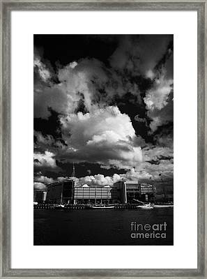 odyssey building and river lagan during the tall ships visit to Belfast in 2009 during Belfast  Framed Print by Joe Fox