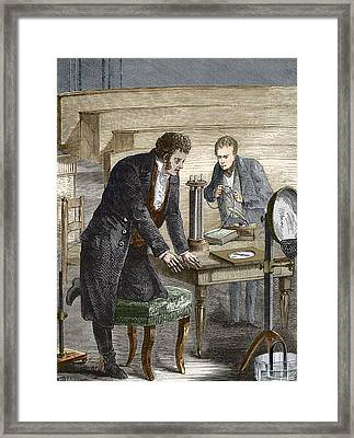 Oersted Discovering Electromagnetism Framed Print by Sheila Terry