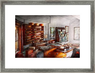 Office - The Purser's Room Framed Print by Mike Savad