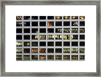 Office Building At Night Framed Print by Lars Ruecker