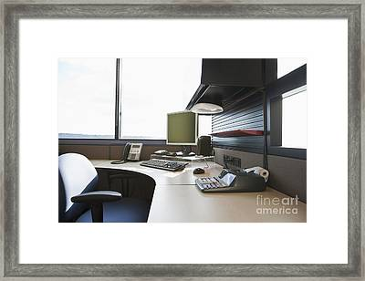 Office Work Station Framed Print by Jetta Productions, Inc