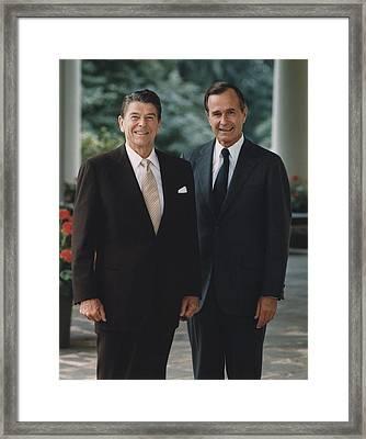 Official Portrait Of President Reagan Framed Print by Everett