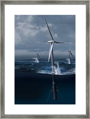 Offshore Wind Farm In A Storm, Artwork Framed Print by Claus Lunau