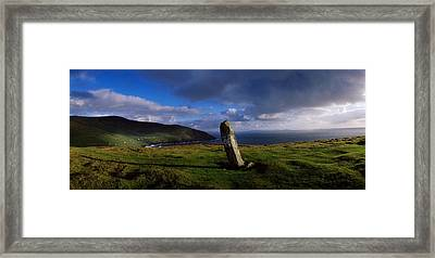 Ogham Stone At Dunmore Head, Dingle Framed Print by The Irish Image Collection