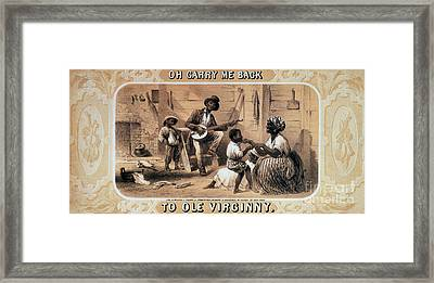 Oh Carry Me Back To Ole Virginny, 1859 Framed Print by Photo Researchers
