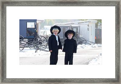 Oh So Cute Amish Boys Framed Print