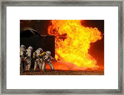 Ohio Air National Guardsmen Extinguish Framed Print