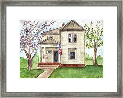 Framed Print featuring the painting Ohio Cottage With Flag by Clara Sue Beym
