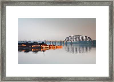 Ohio River Coal Barge II Framed Print by Steven Ainsworth