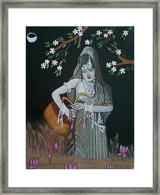 Oil Painting...a Lady With Pitcher Framed Print by Priyanka Rastogi