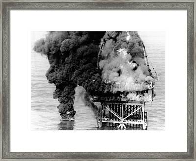 Oil Platform Blaze At Grand Isle Framed Print by Everett