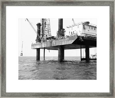 Oil Platform Operating In The Gulf Framed Print by Everett