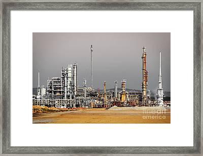 Oil Refinery Framed Print by Carlos Caetano