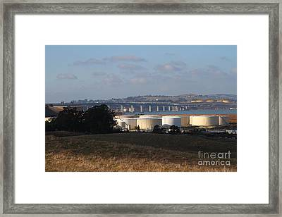 Oil Refinery Industrial Plant And Martinez Benicia Bridge In Martinez California . 7d10388 Framed Print by Wingsdomain Art and Photography