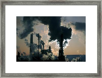Oil Refinery, Pollution Framed Print by Ron Watts